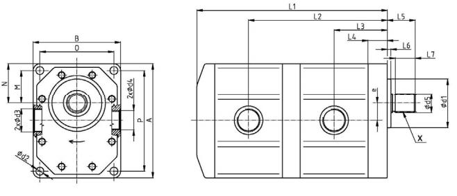 Hydrauliczna podwójna pompa zębata UR 32/32, HP 32/32